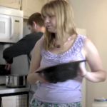Students cooking in an apartment kitchen