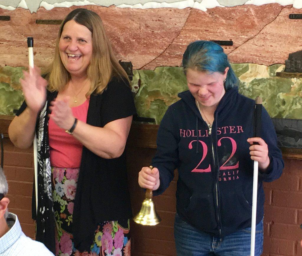 Vika ringing her bell