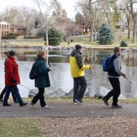 Allie Blanca C.G Dan and Mike walking around the pond at Sterne Park during Birding Class
