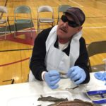 CCB student John did dissections before losing his sight. Here he Shows the shark's lung