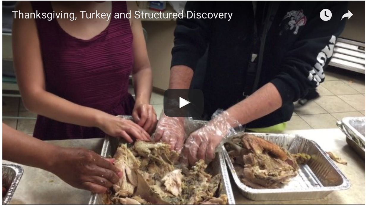 Three sets of hands work on a Fully Cooked Turkey