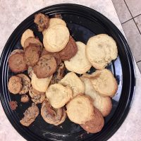 a platter of sugar and chocolate chip cookies