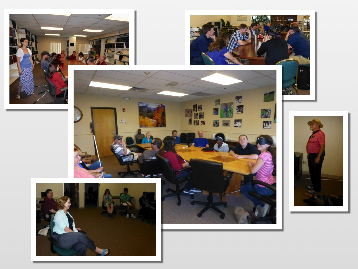 Collage of photos showing board members talking to students in various classrooms