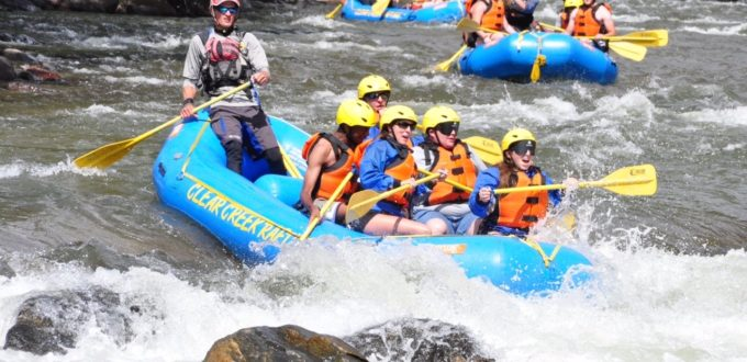 Four rafts head toward white water