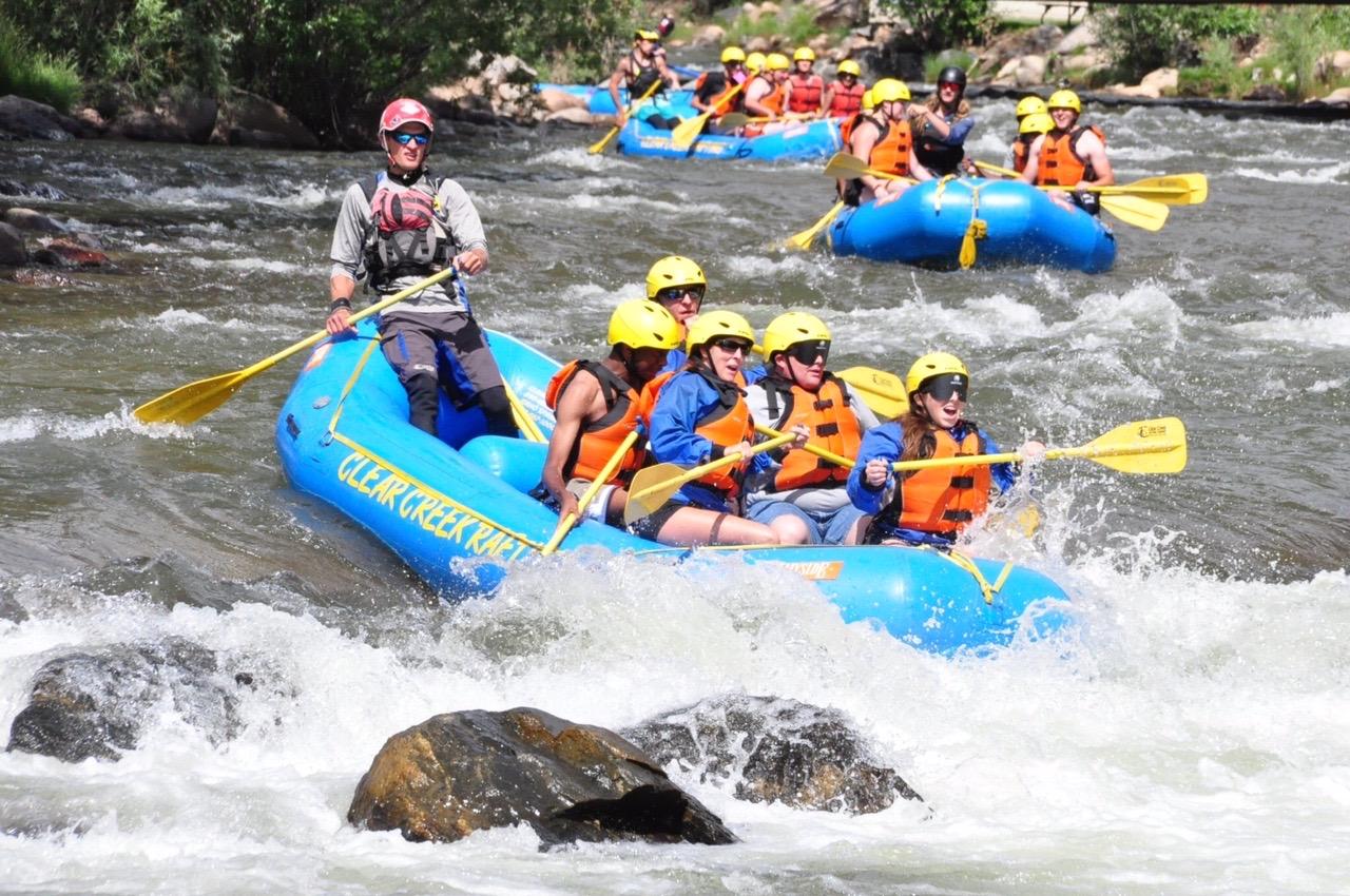 Four rafts head toward white water