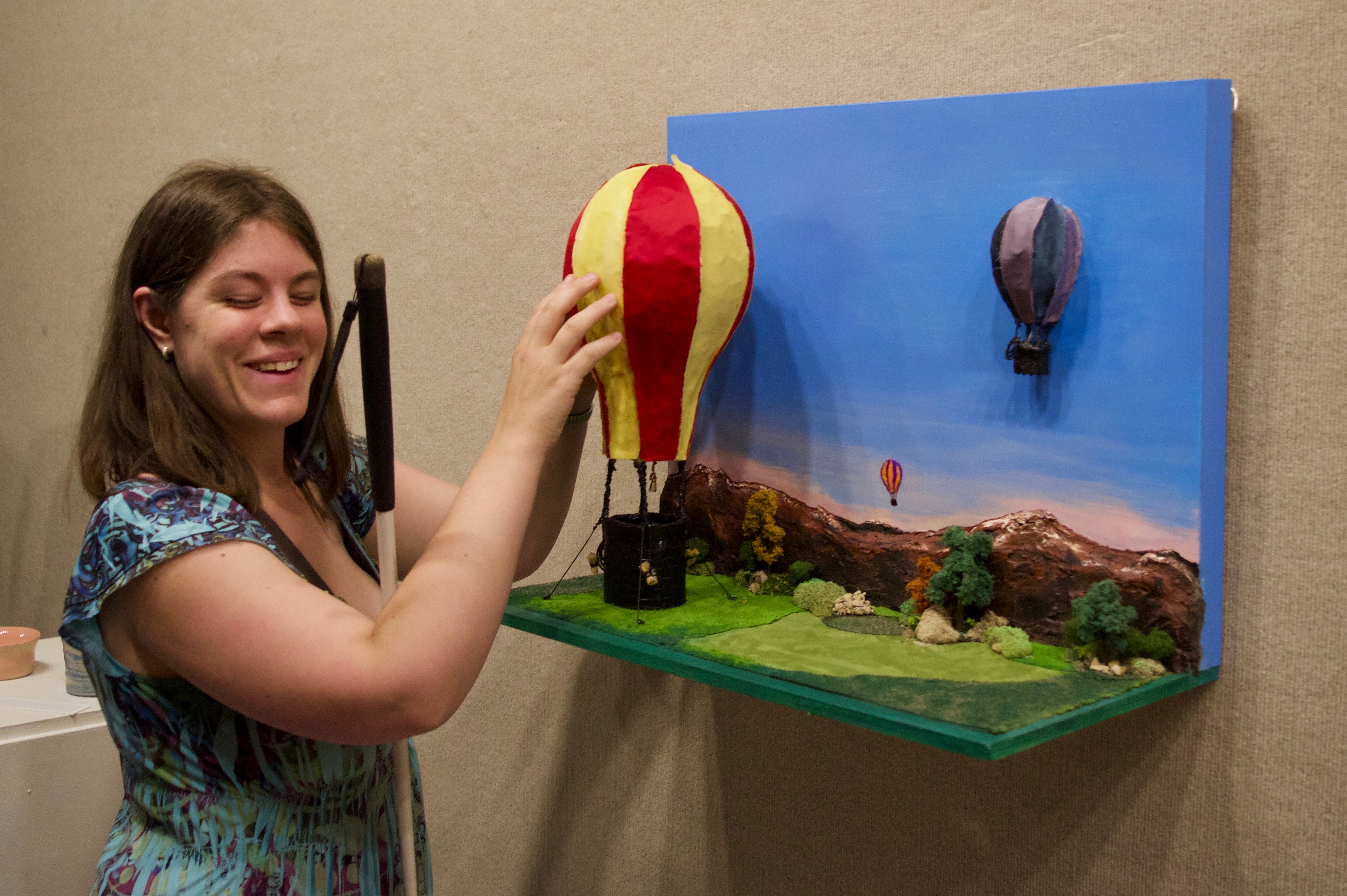 Chris P. explores the details of a hot air balloon