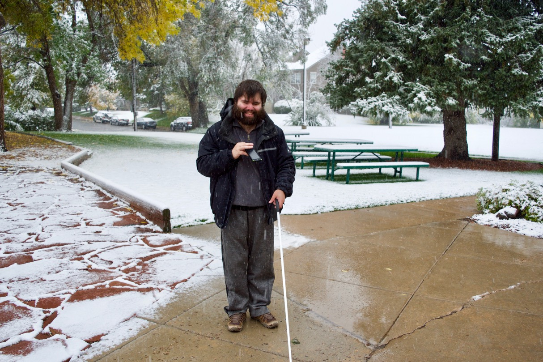 David K. walks through the snow on a winter morning