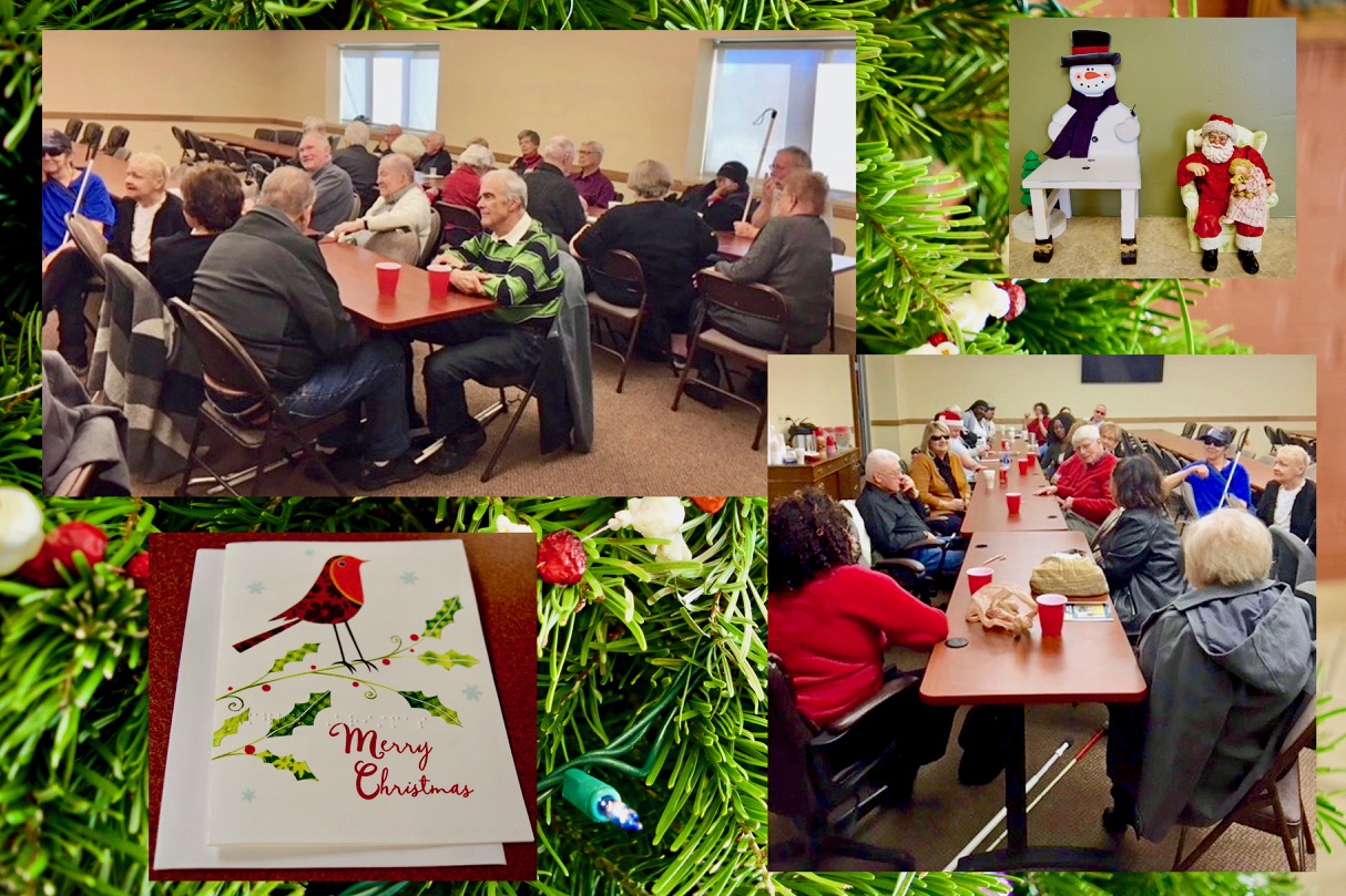 Festive Senior Christmas Party montage featuring 2 views of the Senior Party over a background of the CCB Christmas Tree with hand strung popcorn and cranberries - Also a Braille Christmas Card and Snowman and Santa decorations