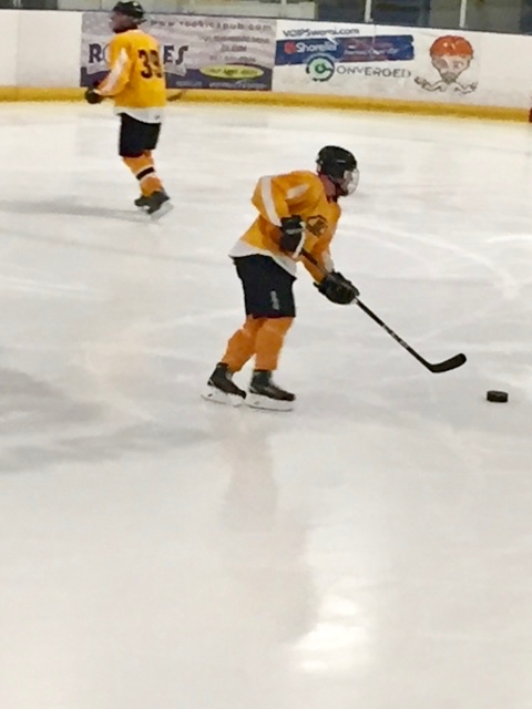 Daniel works the puck across the ice
