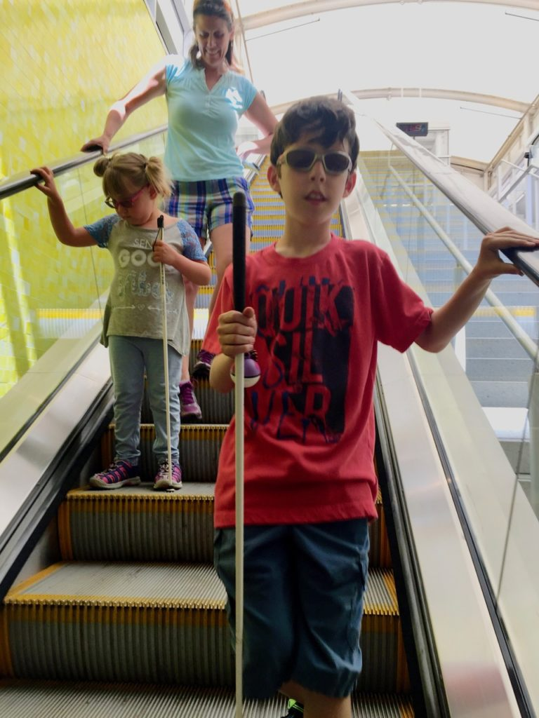 Ty and Peyton take the Escalator at Union Station