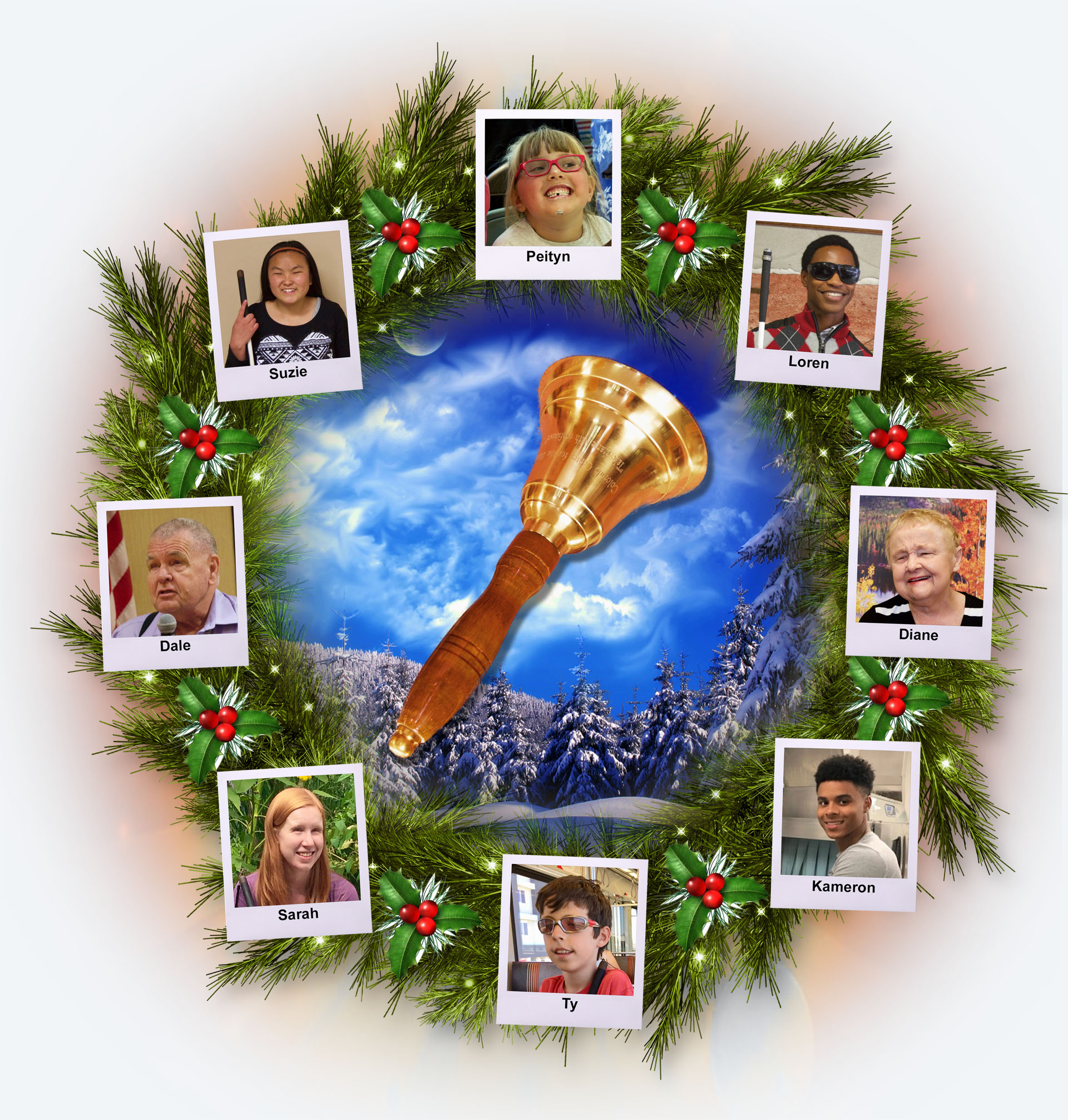 CCB Wreath with Freedom Bell centered and photos of People from each CCB Program area
