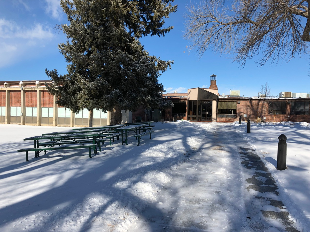 A deep snow covers the grounds of the Colorado Center for the Blind