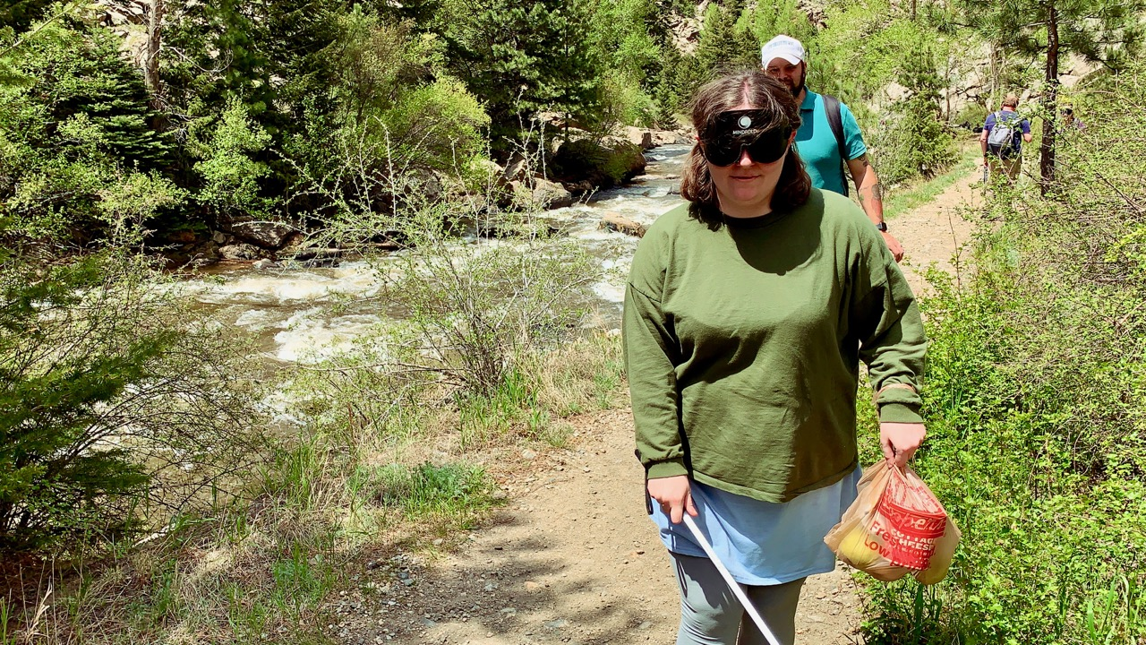 Holly Scott-Gardner Hiking along Clear Creek on her first day at CCB